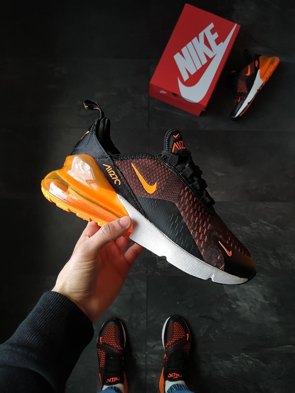 Мужские кроссовки Nike Air 270 мужские Черно-оранжевые