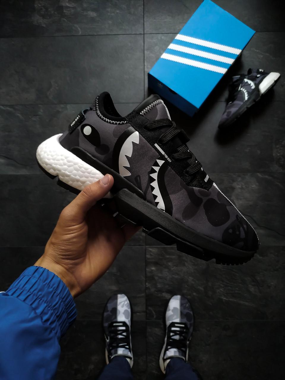 Мужские кроссовки  Adidas POD S3.1 Bape x Neighborhood серые