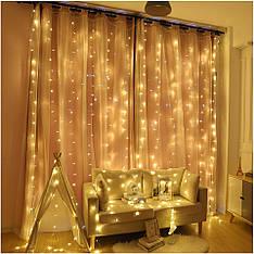 Гірлянда штора золото 3*1.5 м, 240 LED, з перехідником