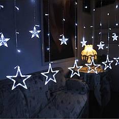 Гірлянда фіранка зірочки світлодіодна 2,5 м, білий, від мережі