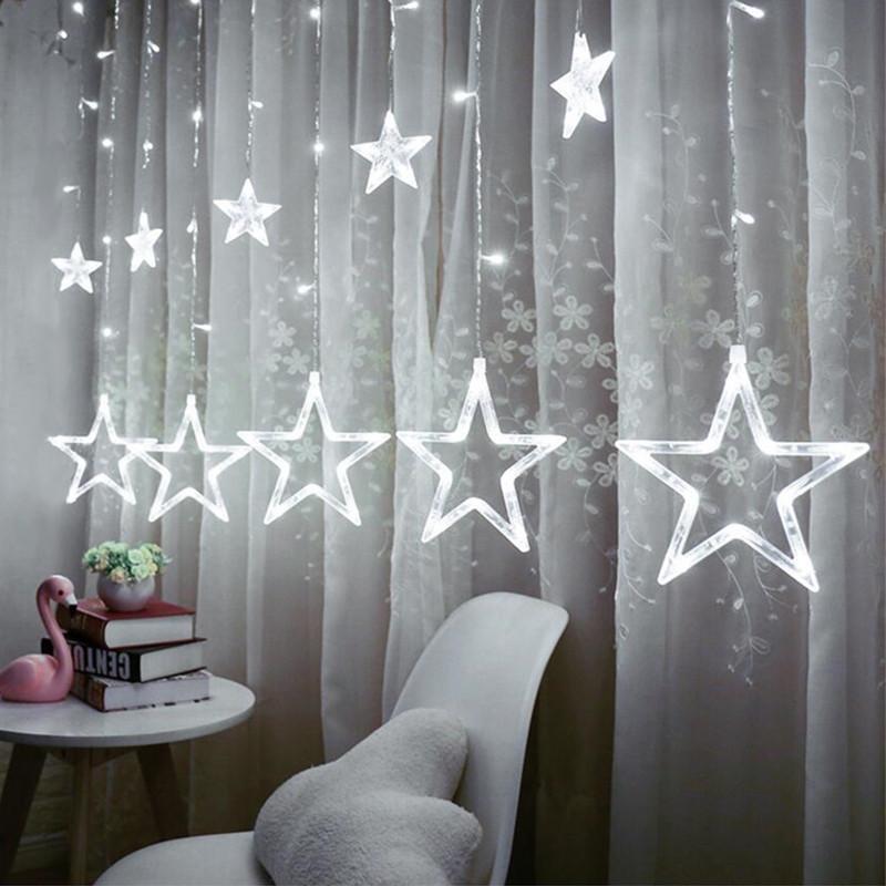 Ночник в комнату Звездный занавес 2,5 м (белый), 8 режимов, от сети
