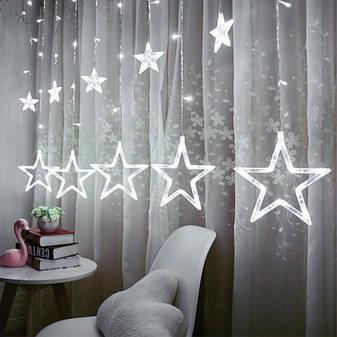 Ночник в комнату Звездный занавес 2,5 м (белый), 8 режимов, от сети, фото 2
