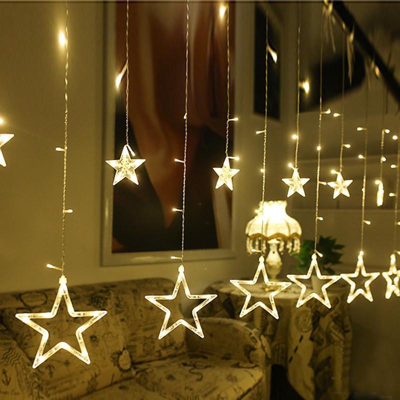 Гирлянда занавеска звездочки светодиодная 2,5 м, золото, от сети
