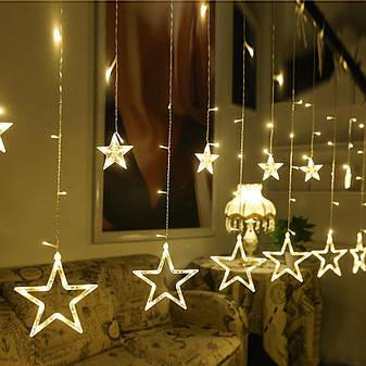 Гирлянда занавеска звездочки светодиодная 2,5 м, золото, от сети, фото 2