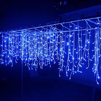 Гирлянда бахрома синий 3*0,42 м, 120 LED, с переходником, фото 2