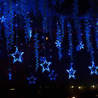 Гирлянда занавеска звездочки светодиодная 2,5 м, синий, от сети, фото 2