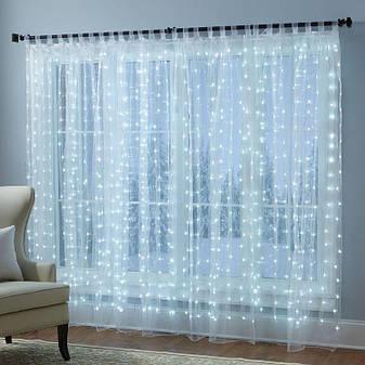 Світлодіодна штора-водоспад, прозорий шнур, 3*3 м, 320 LED, біла, з перехідником, фото 2
