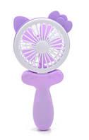 Аккумуляторный ручной (настольный) мини вентилятор с ушками Handy Mini Fan CS1192 Фиолетовый