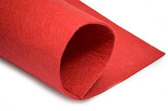 Фетр листовой, красный, 2мм, 50х40