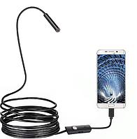 Камера ендоскоп з кабелем на 2 метри 7 мм USB/micro USB з підсвічуванням (5570)