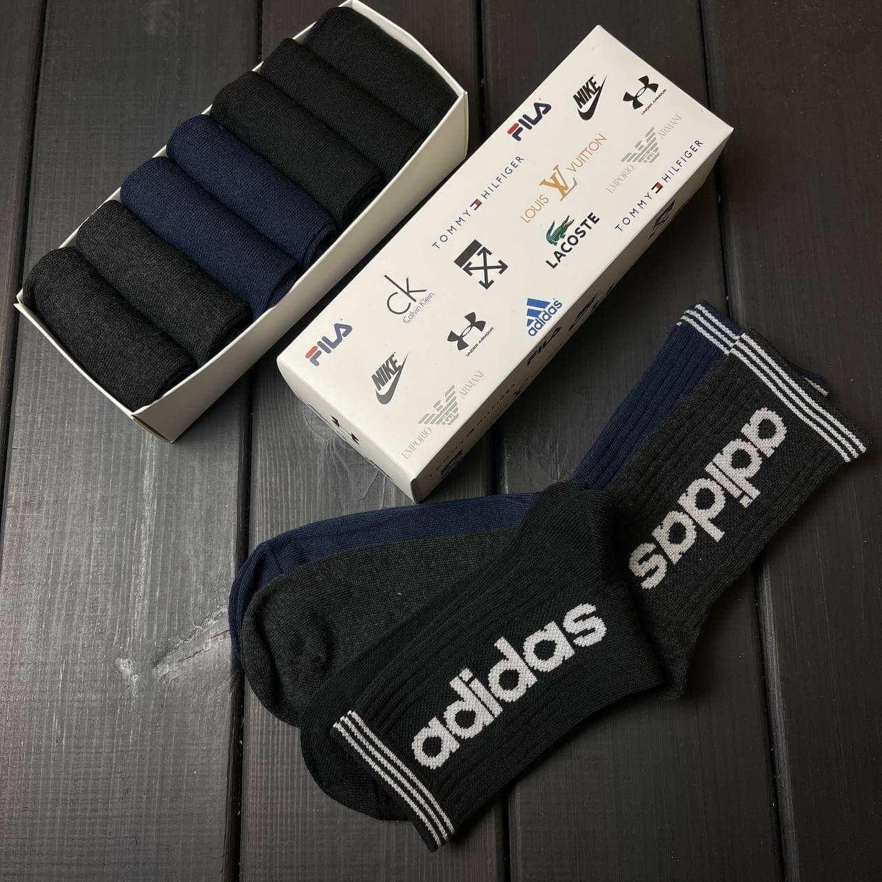Набор мужских носков Adidas 7 пар в подарочной упаковке, комплект высоких носков