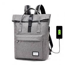 Рюкзак-сумка с USB зарядкой серый, Рюкзаки