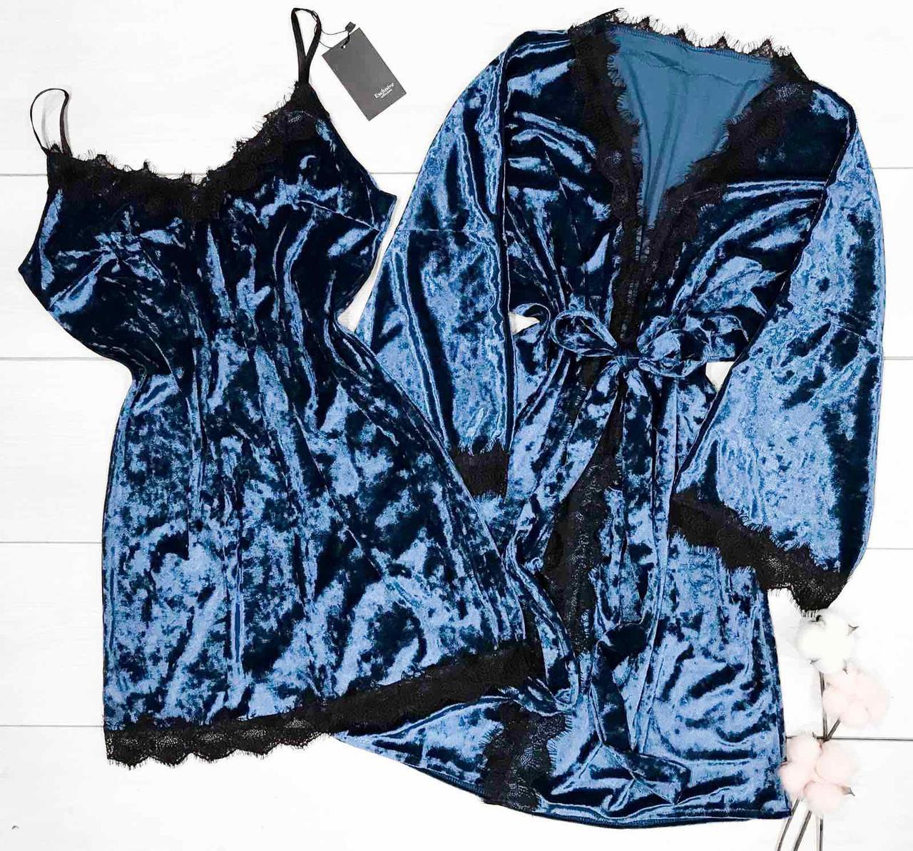 Женская велюровая сорочка с кружевом в комплекте с халатом. Домашняя одежда.