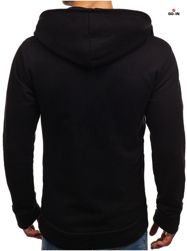 Модная теплая толстовка мужская на молнии с капюшоном черная однотонная