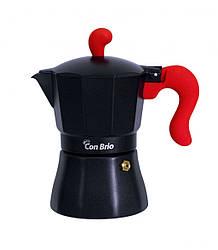 Гейзерна кавоварка Con Brio CB-6603 на 3 чашки | турка Con Brio червона