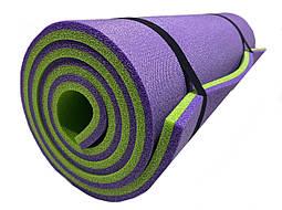"""Двухслойный толстый каремат 16 мм походный для туризма 1800х600 мм, фиолетовый/лайм, """"Эверест"""""""
