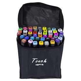 Набір скетч маркерів 48 кольорів двосторонніх, скошений / круглий наконечник