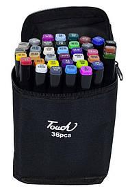 Набір скетч маркерів 36 кольорів двосторонніх, скошений / круглий наконечник