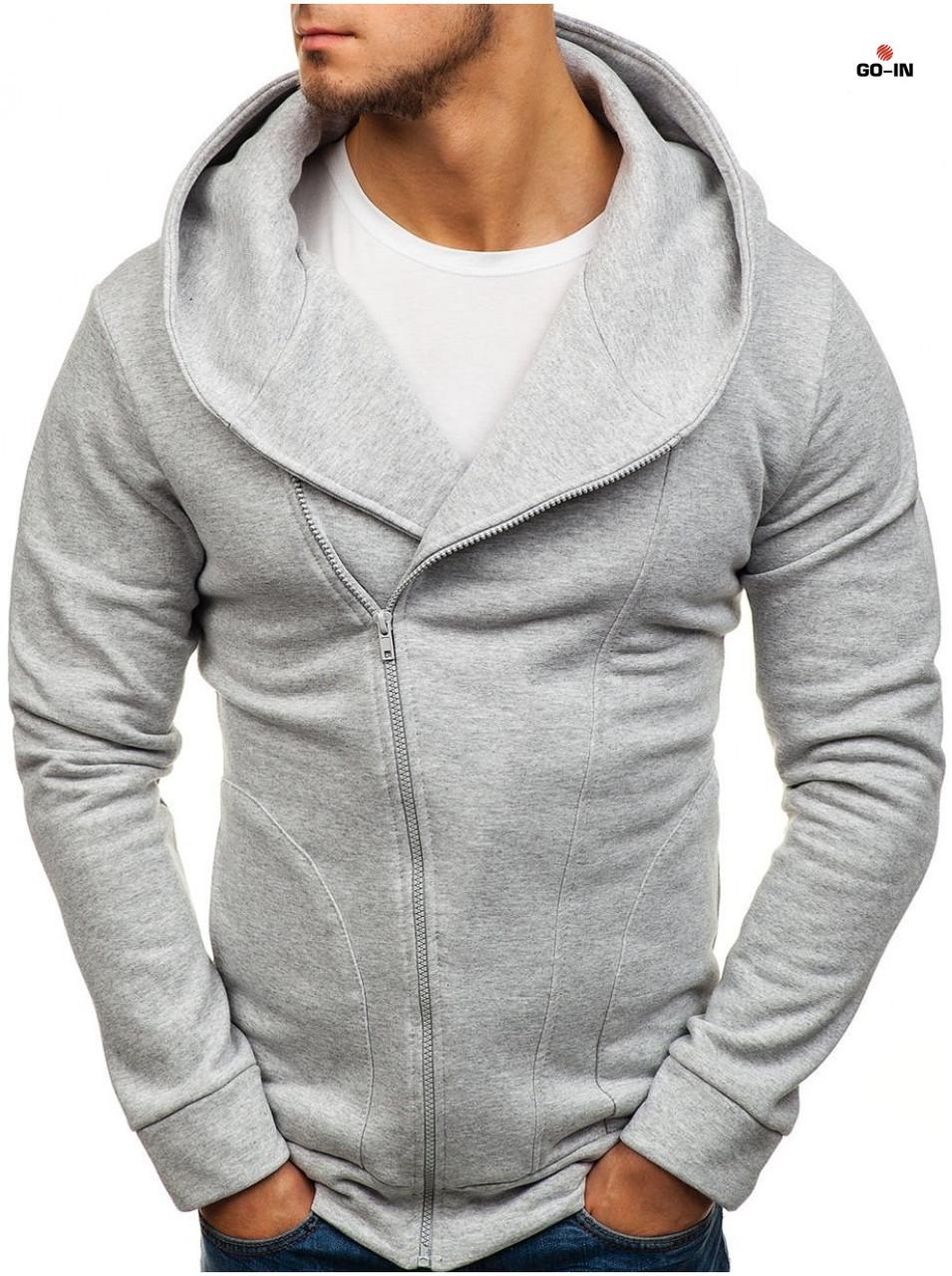 Толстовка теплая косуха мужская светло-серая на молнии с капюшоном однотонная