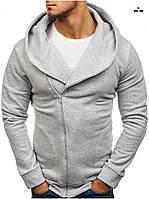 Толстовка теплая косуха мужская светло-серая на молнии с капюшоном однотонная, фото 1