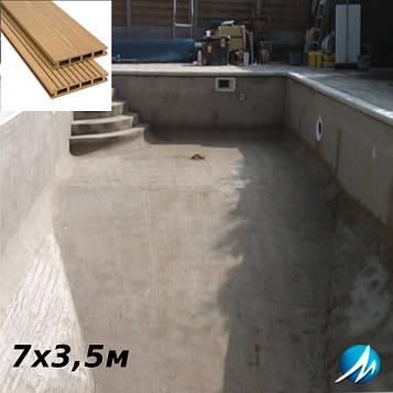Терасна дошка по периметру басейну з шириною доріжки 0,7 м - комплект для бетонного басейну 7х3,5м