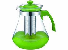 Чайник - заварник Con Brio CB-6215 (1500 мл) стекло   заварочный чайник   керамический чайник Con Brio зелёный