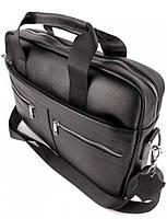 Офісна чоловіча сумка для ноутбука і документів SK N8956 чорна, фото 9