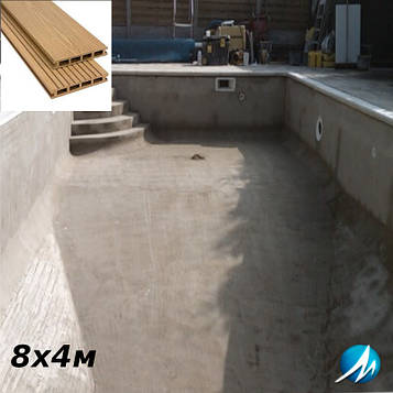 Терасна дошка по периметру басейну з шириною доріжки 0,7 м - комплект для бетонного басейну 8х4м
