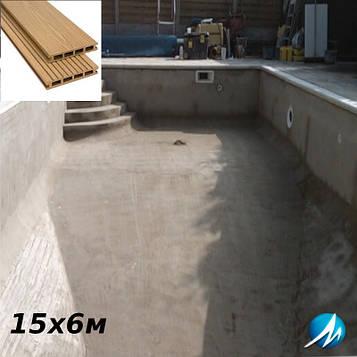 Терасна дошка по периметру басейну з шириною доріжки 0,7 м - комплект для бетонного басейну 15х6м