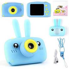 Цифровой фотоаппарат для детей зайчик голубой с памятью