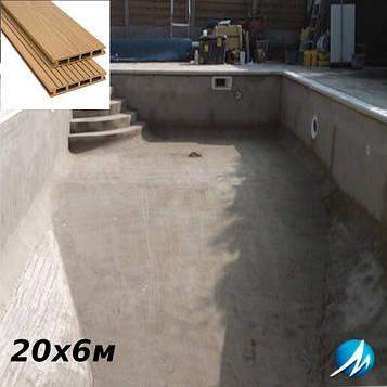 Терасна дошка по периметру басейну з шириною доріжки0,7 м - комплект для бетонного басейну 20х6м