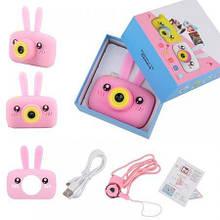 Цифровой детский фотоаппарат  rabbit розовый с памятью