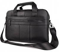 Мужская деловая сумка-портфель кожаный SK N4567 черная