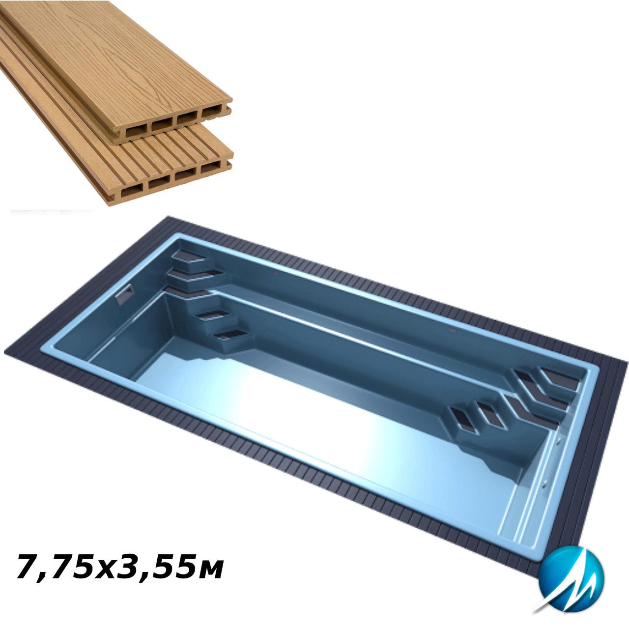 Терасна дошка по периметру басейну доріжки шириною 0,7 м - комплект для скловолоконного басейну 7,75х3,55