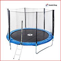 Батут прыгательный Atleto 374см c лесенкой и защитной сеткой Спортивный большой батут польский для улицы детей