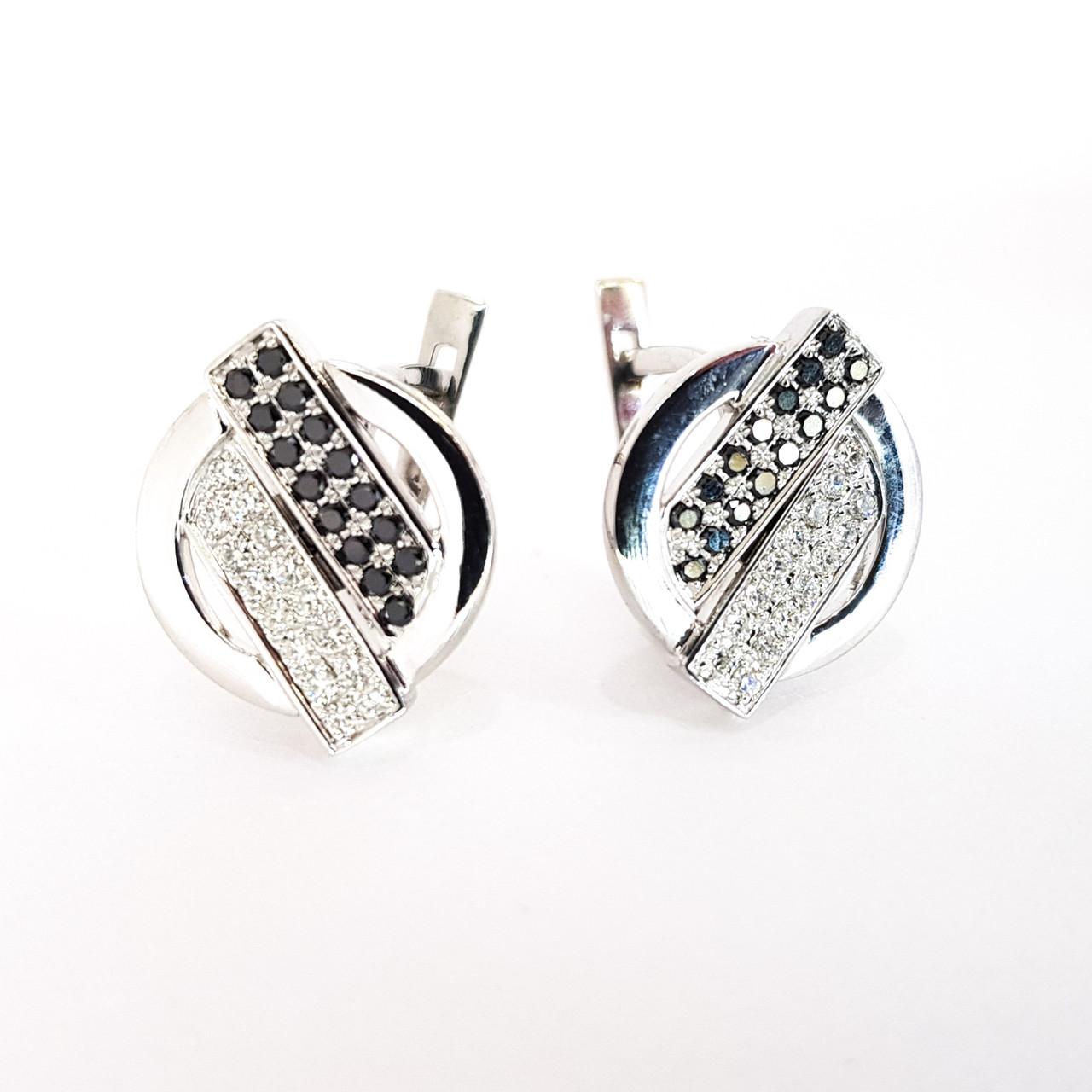 Золоті круглі сережки з білого золота з прозорими і чорними діамантами