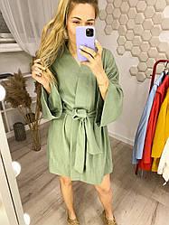 Женское свободное платье с поясом из льна