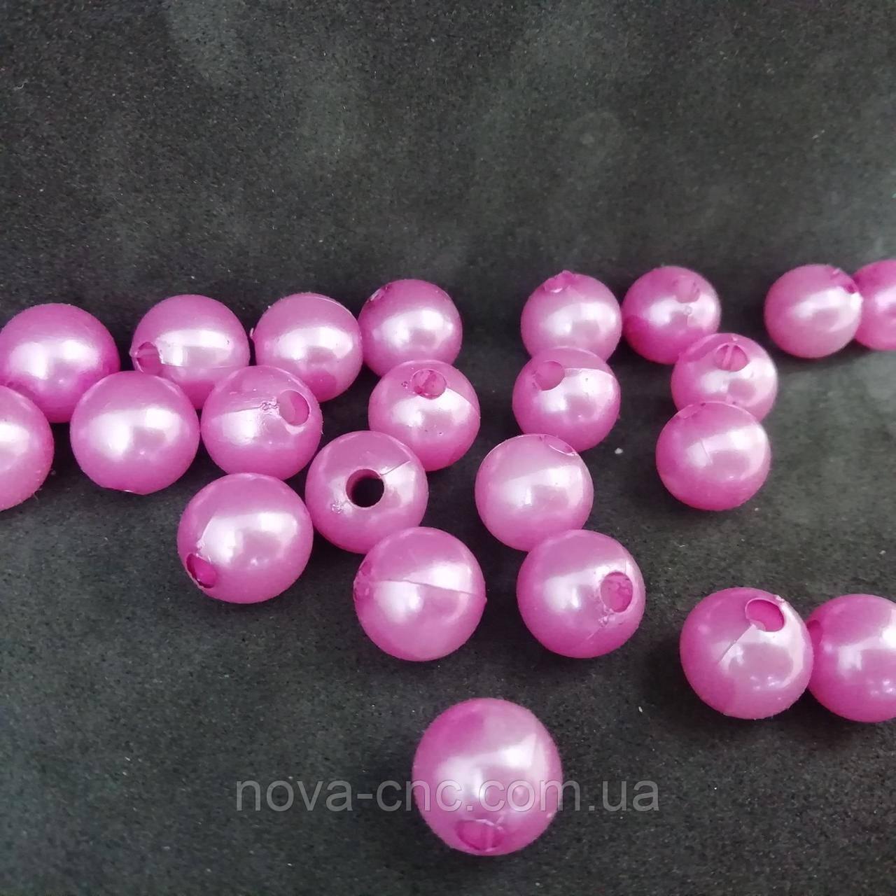 """Намистини пластик """"Куля гладкий"""" рожевий 10 мм 500 грам"""