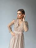 Платье из сетки в горошек на подкладе длиной миди и рукавами фонариками (р. S, М) 66032057Q, фото 5