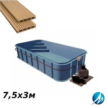Терасна дошка по периметру басейну з шириною доріжки 0,7 м - комплект для поліпропіленового басейну 7,5х3 м