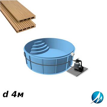 Терасна дошка по периметру басейну з шириною доріжки 0,7 м - комплект для поліпропіленового басейну d 4м