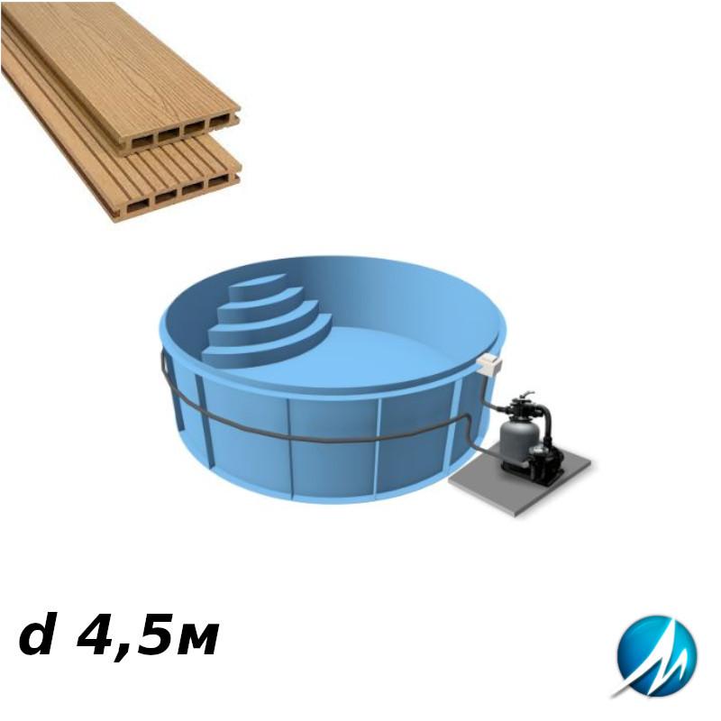 Террасная доска по периметру бассейна с шириной дорожки 0,7м - комплект для полипропиленового бассейна d 4,5м