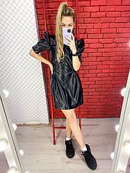 Платье из эко-кожи с короткими рукавами