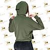 Лонгслив женский с капюшоном цвет хаки двунитка, фото 4