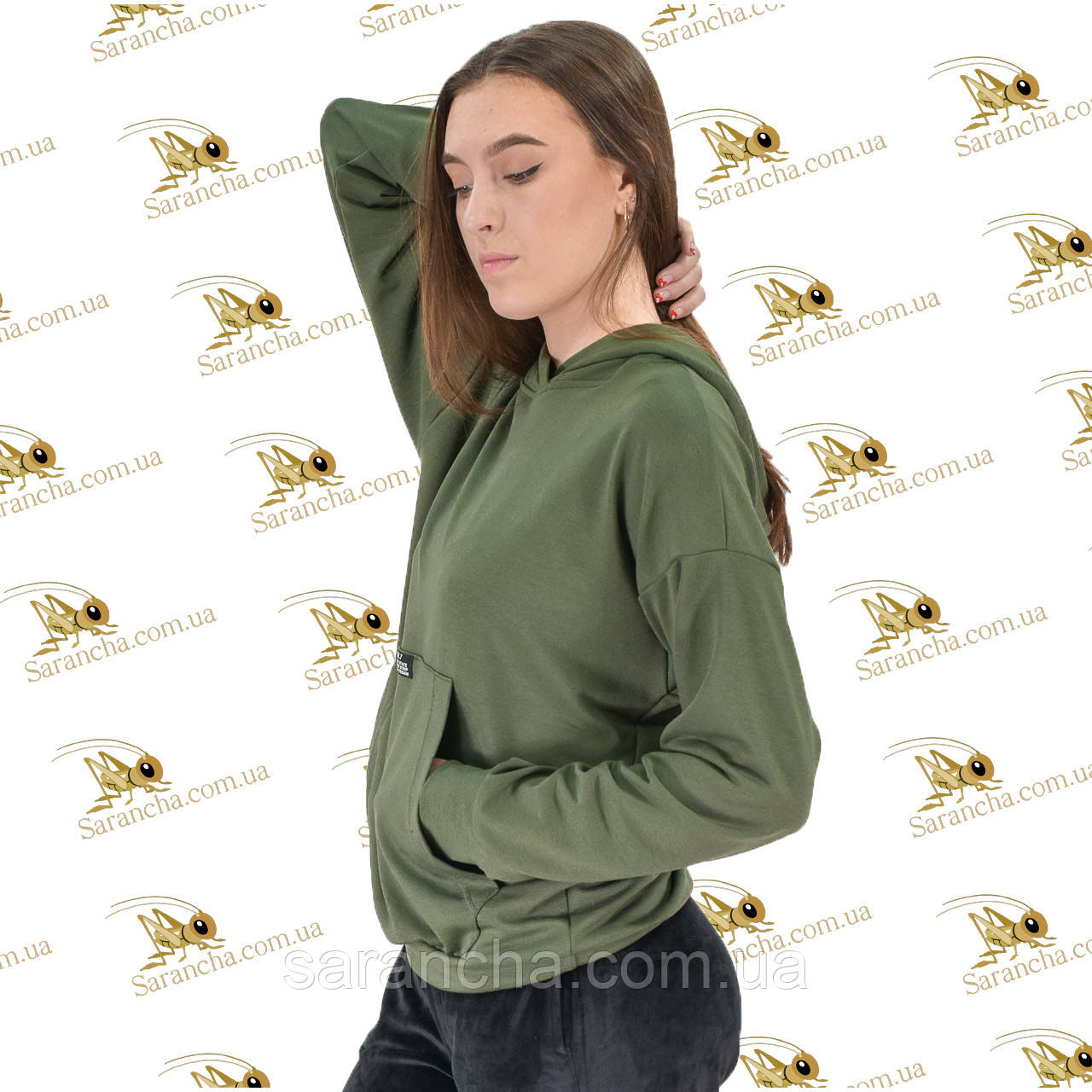 Лонгслив женский с капюшоном цвет хаки двунитка