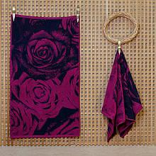 Рушник махровий ТМ Речицький текстиль, Троянди великі 50х90 см