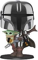 Фигурка Funko Pop Star Wars Mandalorian  Мандалорец и Малыш Йода 25см