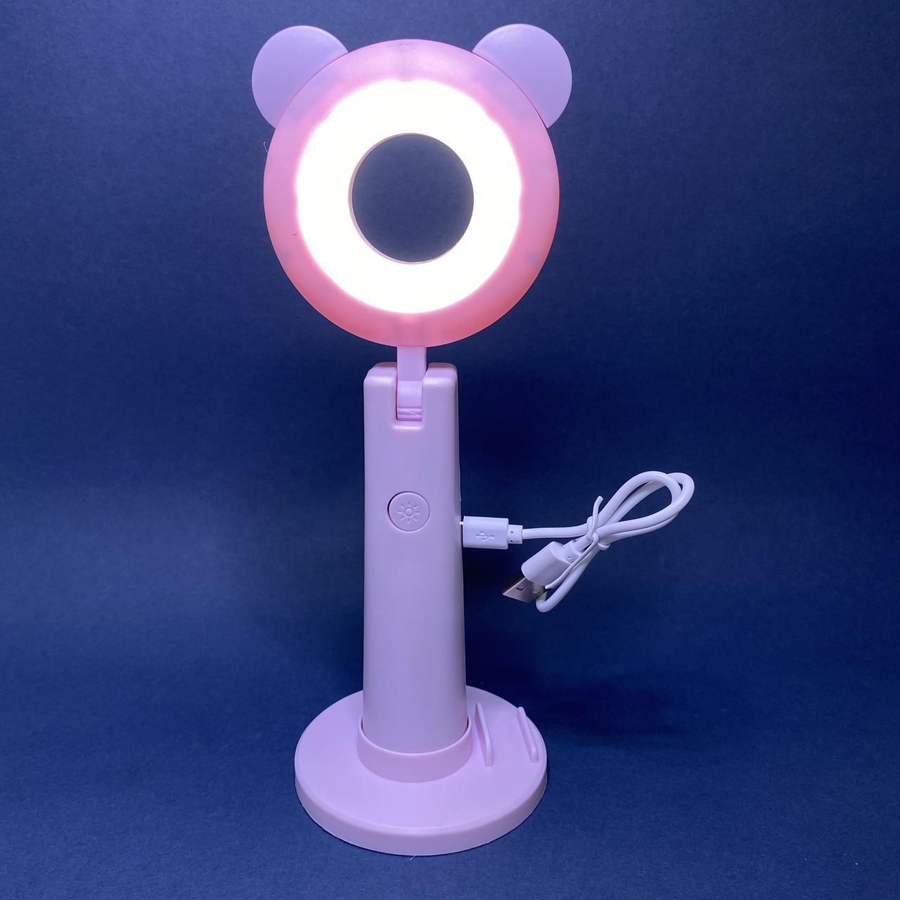 Кольцевая лампа мини настольная с держателем телефона и зеркалом розовая