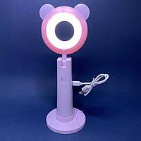 Кольцевая лампа мини настольная с держателем телефона и зеркалом розовая, фото 1