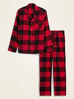 Мужская пижама фланелевая Old Navy штаны и рубашка в клетку art206571 (Красный/Черный, размер XXL)